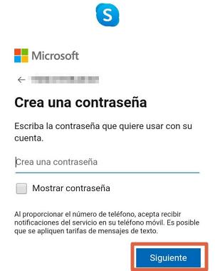 Cómo crear una cuenta o registrarse en Skype desde la app paso 5