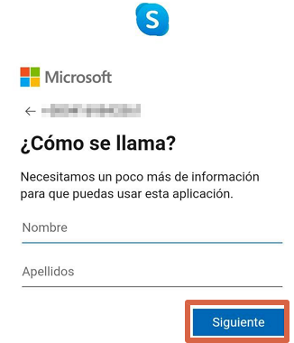 Cómo crear una cuenta o registrarse en Skype desde la app paso 6