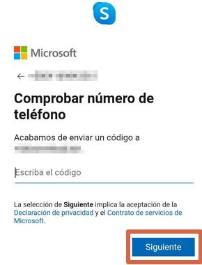 Cómo crear una cuenta o registrarse en Skype desde la app paso 7