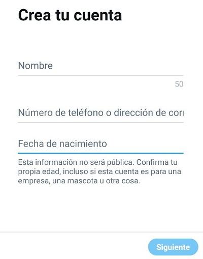 crear cuenta de twitter en android paso 3