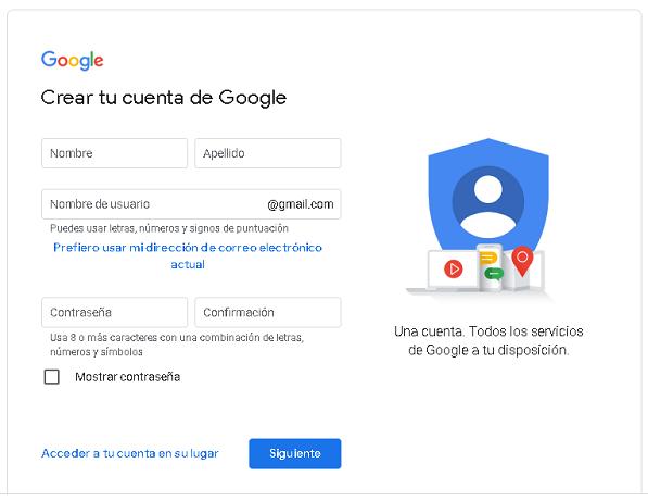 Como crear una cuenta de Google desde la PC paso 1