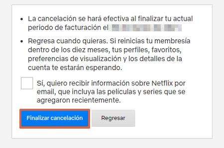 Cómo eliminar la cuenta de Netflix a través de la página web paso 5