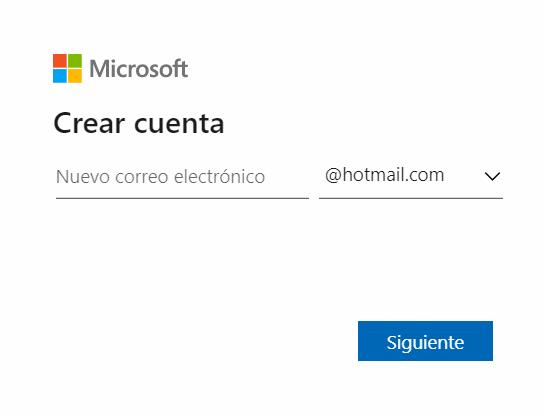 Crear cuenta de Hotmail