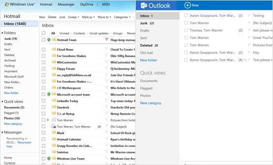 Diferencias entre Outlook.com y Hotmail