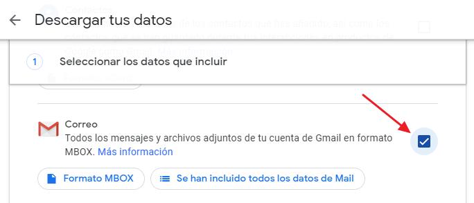 Descargar datos de Gmail previamente