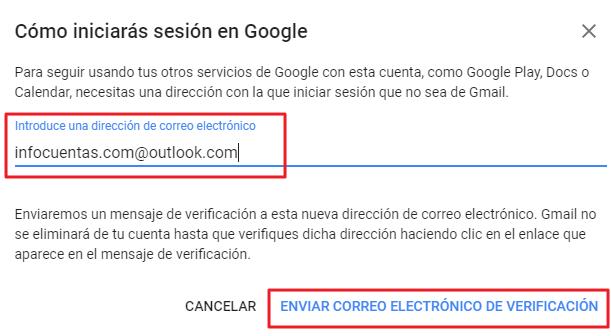 Eliminar cuenta de Gmail, paso 3
