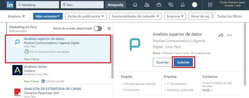 solicitar un trabajo en LinkedIn