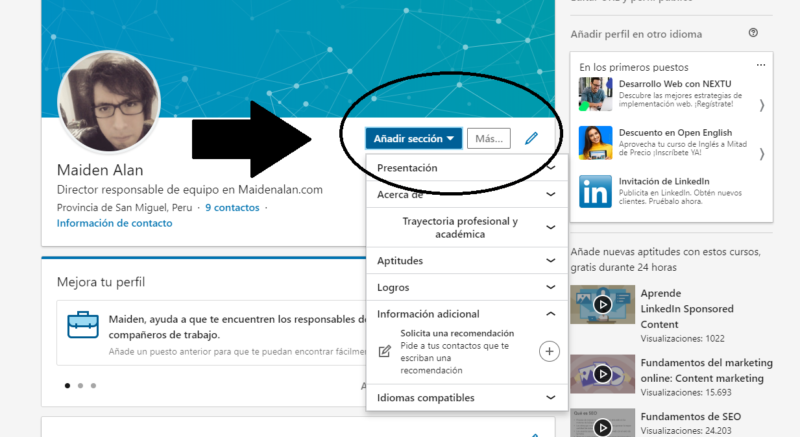 Como modificar tu perfil de LinkedIn