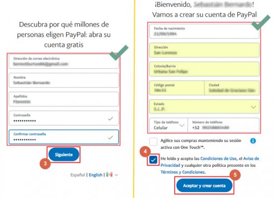 registrarse en paypal