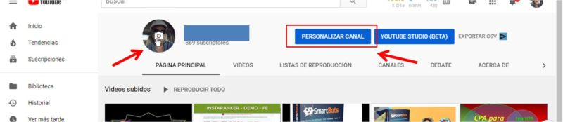 cambiar foto de Youtube