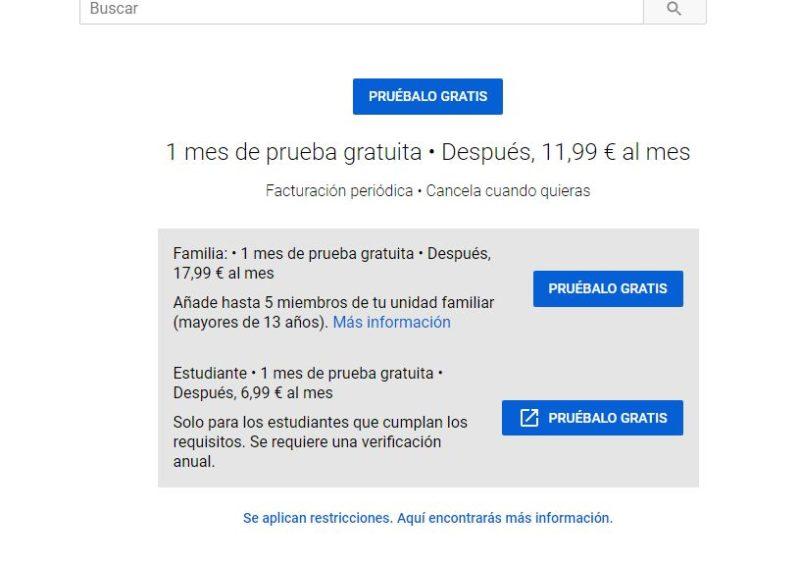 youtube premium peliculas