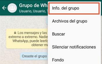 Cómo eliminar un grupo de WhatsApp paso 1