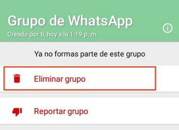Cómo eliminar un grupo de WhatsApp paso 6