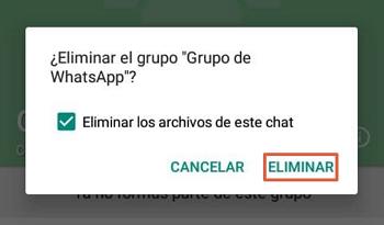 Cómo eliminar un grupo de WhatsApp paso 7