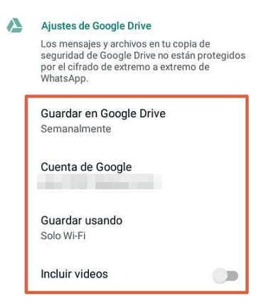 Cómo hacer una copia de seguridad de WhatsApp en Android paso 5