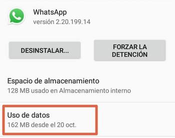 Comprueba el uso de datos de WhatsApp para solucionar el problema de que no llegan los mensajes hasta abrir la aplicación paso 4