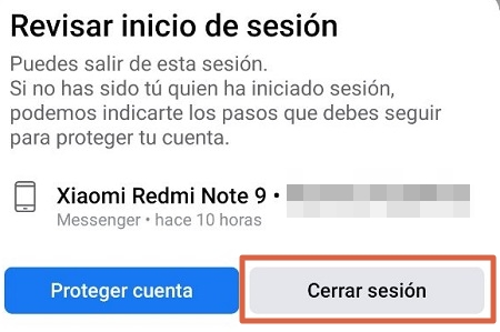 Cerrar sesion en facebook desde el movil paso 7