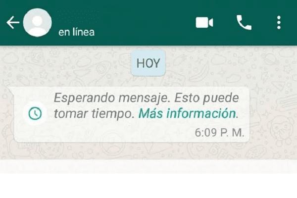 Errores de WhatsApp. Aviso Esperando mensaje. Esto puede tomar tiempo