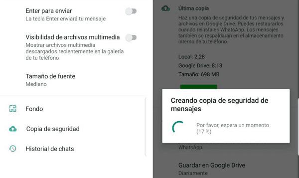 Errores de WhatsApp. La copia de seguridad automática no se realiza