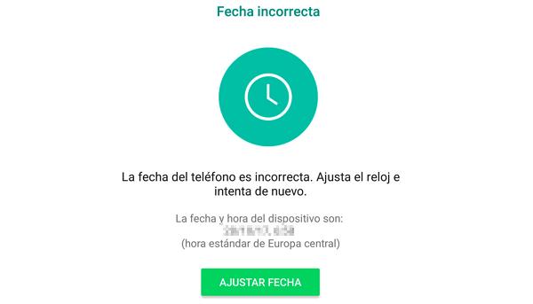 Errores de WhatsApp. Mensaje La hora del dispositivo es incorrecta