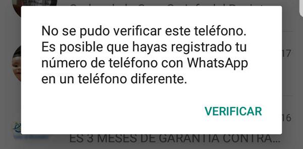 Errores de WhatsApp. No puedes usar WhatsApp en más de un dispositivo