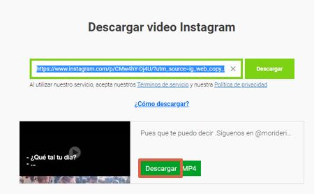 Cómo descargar fotos o videos de Instagram utilizando Savefrom.net paso 5
