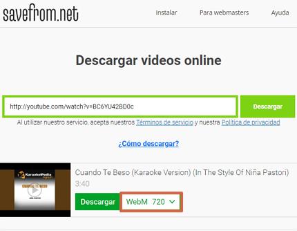 Cómo descargar videos de YouTube con Savefrom.net paso 4