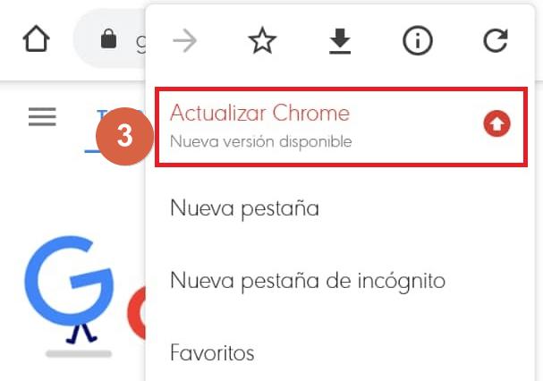 actualizar google chrome en celular desde el navegador paso 3