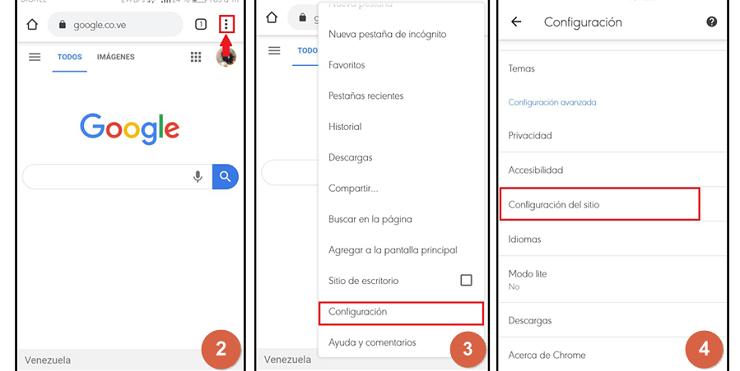 bloquear notificaciones desde el celular paso 2, 3 y 4