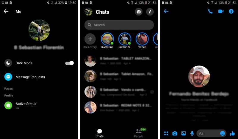 facebook messenger modo oscuro