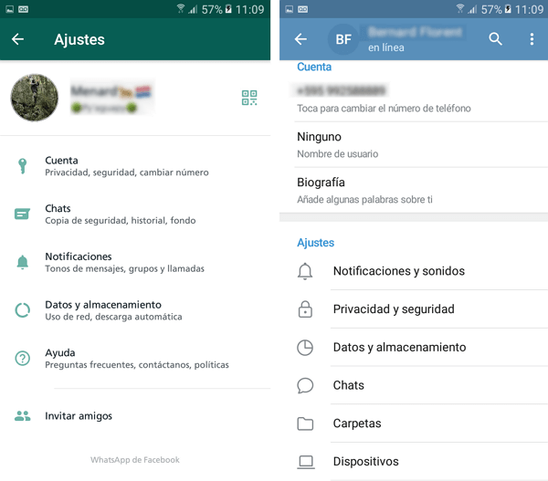 Whatsapp vs Telegram privacidad ajustes
