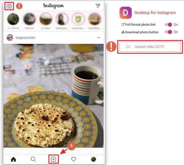 Subir fotos a instagram extensión google