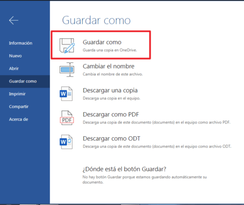 Guardar documentos creados en word online