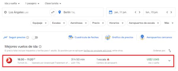 seleccionar vuelo en google flights