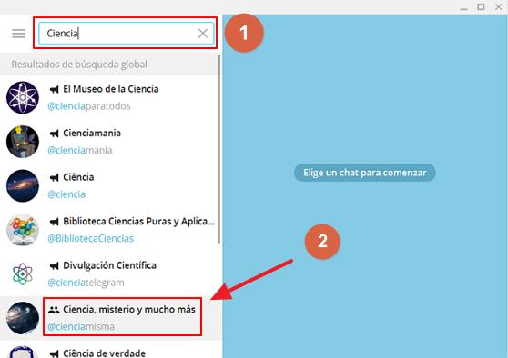 Cómo buscar grupos en Telegram paso 1 y 2