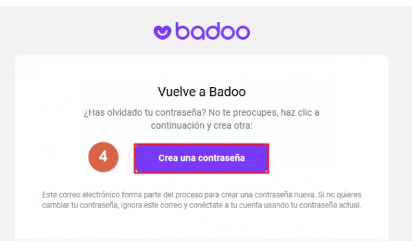 Cómo recuperar contraseña Badoo paso 4