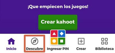Cómo jugar a un Kahoot existente en la app paso 1