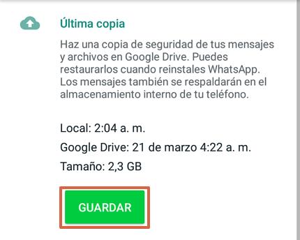 Cómo recuperar mensajes borrados del WhatsApp restaurando la copia de seguridad en teléfono Android paso 5