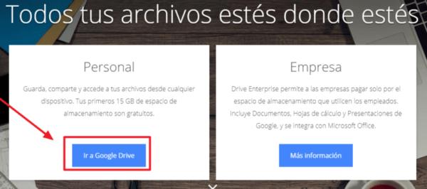 Crear una cuenta en google drive