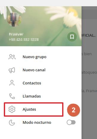 Eiminar cuenta de Telegram desde el móvil paso 2