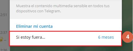 Eiminar cuenta de Telegram desde el móvil paso 4