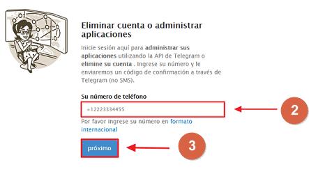 Eliminar cuenta de Telegram desde el PC paso 1, 2 y 3