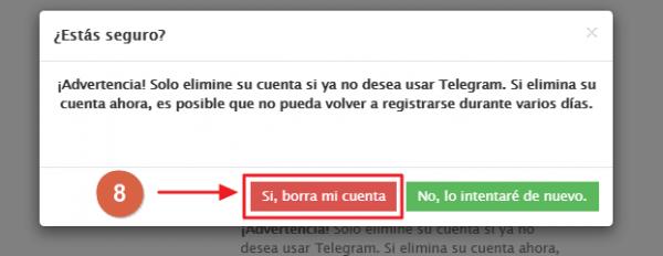 Eliminar cuenta de Telegram desde el PC paso 8