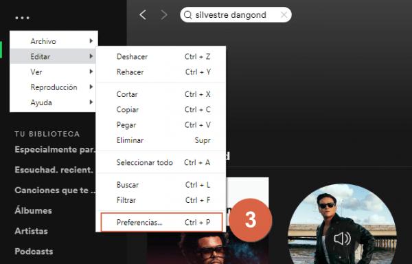 Mejorar calidad de audio en spotify desde app de escritorio paso 3