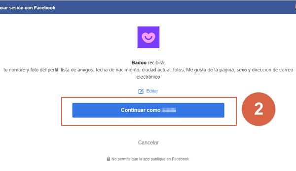 acceder con facebook paso 2