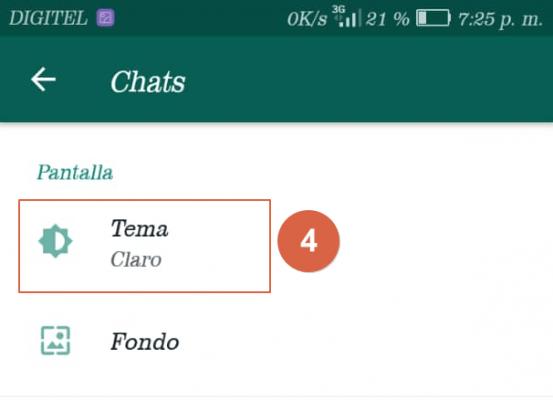 activar modo oscuro en whatsapp paso 4