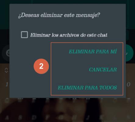 eliminar mensajes en whatsapp paso 2