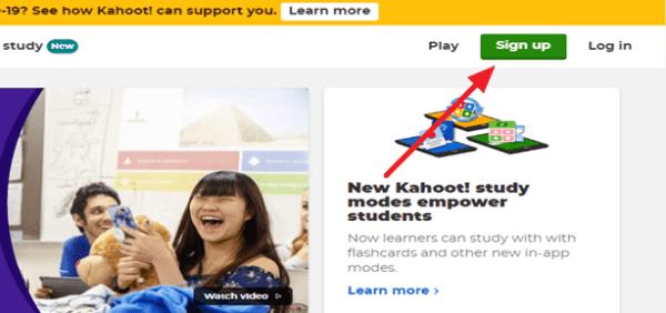 como crear una cuenta en kahoot
