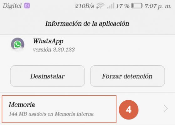 liberar espacio en whatsapp paso 4
