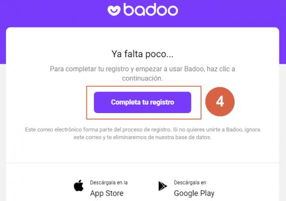 registrarse o crear cuenta en badoo paso 4